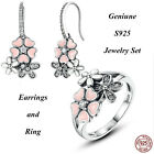 925 Silver Jewelry Set Pink Peach Flower Cherry Blossom Drop Hang Earrings&Ring