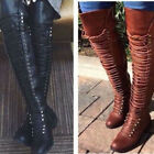 Women Over the Knee Boots Lace Up Thigh High Combat Low Heel Shoes Military New