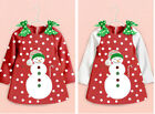 Chrismas Kids Toddler Girls cotton Dress Clothes Tops Long Sleeve Fleece Outfits