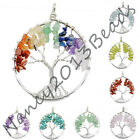 50mm Silver Tree of  life pendant Amethyst Rose Crystal Necklace Chakra Jewelry