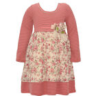 Bonnie Jean Little Girls Dark Pink Stripe Rose Print Long Sleeve Dress 2T-6X