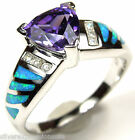 8mm Amethyst & Blue Fire Opal Inlay 925 Sterling Silver Ring size 6,7,8,9
