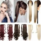 Lady Wrap On Ponytail Clip In Hair Extensions Long Straight Wavy THICK Human F25