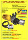12V DC Double Acting Hydraulic Power Pack 2.2Kw 3.8Ltr Round Oil Tank