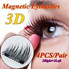 3D Dual Magnets Magnetic False Eyelashes Eye Lashes Handmade 4 Pcs/2 Pairs ED