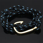 Fashion Cool Unisex Handcrafted Adjustable Nautical Hook Rope Bangle Bracelet Lo