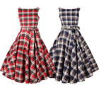 Fashion 50s 60s Dress Women's Rockabilly Vintage Plaid Pin Up Swing Skirts S-2XL