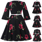 New Women Vintage Retro Bell Sleeve Floral Short Dress Ladies Casual Party Dress