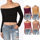 TheMogan Off The Shoulder Stretch Cotton Crop Top Long Sleeve Sexy T-Shirt Tee