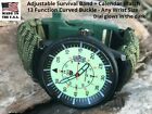 SF USA Army Green Paracord Survival Bracelet Compass Fire Scraper Whistle Watch