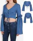 New Women  V Neck Denim Crop top  Bell Sleeves Lace up Front Shirt Blouse 6-14