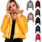 Ladies Puffer Crop Bubble Womens Metallic Foil Quilted Padded Jacket Coat Top
