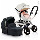 Luxury Baby Stroller 2in1 Leather Carriage Infant Travel System Foldable Pram