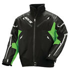 Arctic Cat Men's Leather Tex Black/Green Insulated Snowmobile Jacket 5260-65X