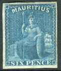 MAURITUS-1859-61 6d Blue.  A lightly mounted mint 4 margin example Sg 32