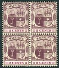 MAURITUS-1904-7 2c Dull & Bright Purple mounted mint block of 4 Sg 165a