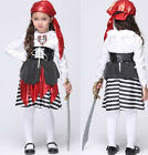 Girls Pirate Captain Halloween Fancy Dress Kids Children Cosplay Costume Outfit