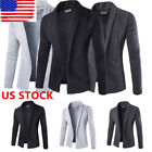 Men Casual Cardigans Solid Plain Jacket Coat Sweater Work Tops Formal Suit Shirt