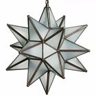 15 Inch Antique Mirror Glass Star Light Pendent