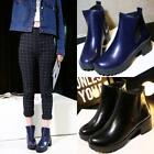Hot British New womens Low Block Heels Riding Ankle boots Rounf toe Pumps Shoes