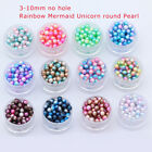 New Diy 3/4/5/6/8mm Color No Hole Round Pearl Loose Acrylic Beads Jewelry Making
