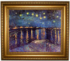 van Gogh Starry Night Over the Rhone Framed Canvas Print Repro 16x20