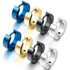 1pc/2pcs Women's Men's Stainless Steel Hoop Loop Huggie Punk Ear Stud Earrings image