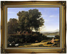 Lorrain Landscape with Apollo and the Muses Wood Framed Canvas Print Repro 18x24