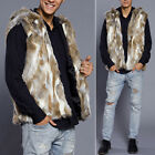 Mens Faux Fur Winter Warm Thicken Hooded Jacket Trench Coat Overcoat Outwear Hot