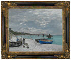 Monet On the beach at Sainte Adresse Framed Canvas Print Repro 16x20