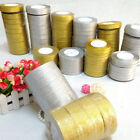 25 Yards Roll Gold Silver Metallic Ribbons Christmas Wedding Craft 3,6,10-50mm