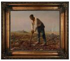 Millet Man with a Hoe 1860 Framed Canvas Print Repro 16x20