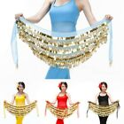 Women Belly Dance Hip Scarf Coin Decor Chiffon Waist Belt Chain Dancing Wrap 1PC