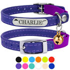 Leather Cat Collar Personalised Kitten Collars with Bell Pink Red Blue Black