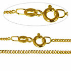 """9CT Gold Plated Fine 1.4mm Curb Chain Necklace 16 18 20 22 24 26 28 30 40"""" Inch"""