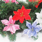 Colourful Glitter Christmas Flowers Xmas Tree Hanging Wedding Party Decoration