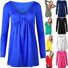 New Ladies Long Sleeve Bow Knot Front Ruched Flared Swing Tunic Tee Dress Top