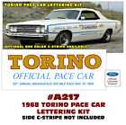SP A217 1968 FORD TORINO - PACE CAR LETTERING KIT
