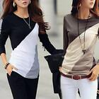 Women Casual O-Neck Long Sleeve Patchwork Contrast Color Slim T-Shirt TXWD