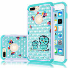 Owl Pattern Bling Rhinestone Hybrid Rubber Case Cover For Apple iPhone 7 8 Plus
