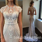 Unique Cap Sleeve Wedding Dresses Beading Crystals Bridal Gowns Backless Mermaid