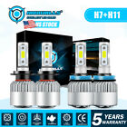 Combo H11 H7 LED Headlight Bulbs Kit High Low Beam Total 3400W 510000LM 6500K 4x