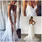 Sexy Backless Spaghetti Straps Wedding Dresses Lace Summer Boho Bridal Gowns