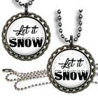 Let It Snow Bottle Cap Necklace w/ Chain Handcrafted Cute Winter Jewelry