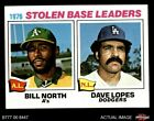 1977 Topps #4 Bill North / Dave Lopes - SB Leaders   Athletics / Dodgers NM/MT