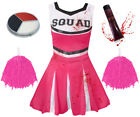 ADULT LADIES ZOMBIE CHEERLEADER AND POM POMS HALLOWEEN FANCY DRESS COSTUME
