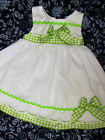 DREAM BABY SUMMER 2017 LIME TRIM SLEEVELESS SPANISH LINED NETTED DRESS 0-4 YEARS