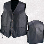 Mens Black Pebble Grain Leather Vest Waistcoat with Lace-Up Sides Lined Man