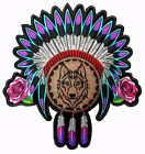 Embroidered Native Head Dress Roses and Wolf Ladies Back Patch