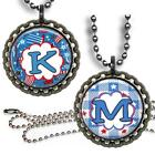 Custom Your Initial Patriotic USA Kid's Bottle Cap Necklace & Chain Handcrafted